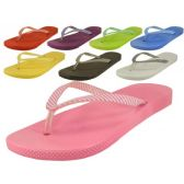 Wholesale Footwear Ladies' Stripe Strap Thong Flip Flops