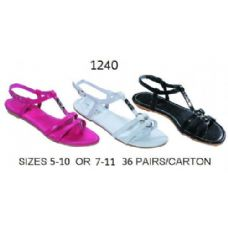 Wholesale Footwear Ladies Sandal With Metal Decal