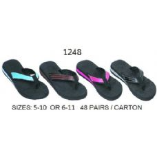Wholesale Footwear Ladies Wedge Flip Flop With Color Band