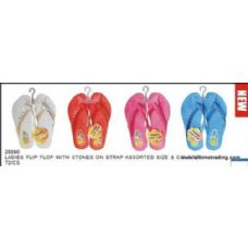 Wholesale Footwear Ladies Basic Flip Flop With Stones