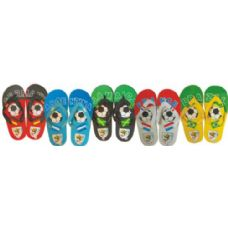 Wholesale Footwear Ladies Printed Soccer Theme Flip Flops