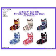 Wholesale Footwear Ladies 8 Inch FaiR-Isle Sweater Knit Slipper Boot