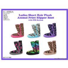 Wholesale Footwear Ladies Short Hair Plush Animal Print Slipper Boot With Tpr Bottom