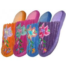 Wholesale Footwear Girls Plush Slipper With Flower Embroidery