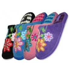 Wholesale Footwear Ladies Plush Slipper With Flower Embroidery