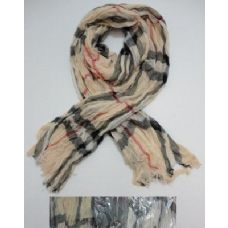 Wholesale Footwear Crinkle Scarf With FringE--Plaid