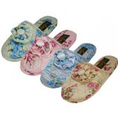 Wholesale Footwear Women's Quilted Satin Floral Upper Close Toe Bedroom Slippers
