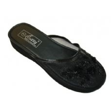 Wholesale Footwear Ladies Beaded House Slipper Black Only Asst Sizes
