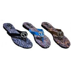 Wholesale Footwear Ladies Paisly Peace Sign Sandal