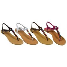 Wholesale Footwear Ladies Thong Flat Sandal With Color Beads