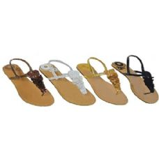 Wholesale Footwear Ladies Thong Flat Sandal With Crochet And Sequence