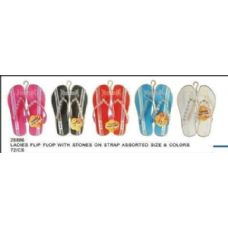 Wholesale Footwear Ladies Flip Flop With Printed Stripes And Strap Detail