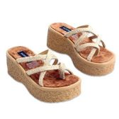 Wholesale Footwear WOMANS 2.9 INCH WEDGE SANDAL SIZE 6 - 10 NATURAL COLOR