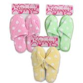 Wholesale Footwear SLIPPERS WITH POLKA DOTS IN 3 COLORS PINK, GREEN & YELLOW WITH SIZES S, M & L