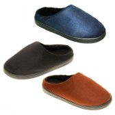 Wholesale Footwear MENS SLIPPERS SIZE 7-12 NVY BLU, DK BRWN, BRWN