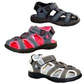 Wholesale Footwear KIDS OUTDOOR ACTIVE SANDALS SIZE 11-3 NVY BLU, PINK, GRAY
