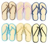 Wholesale Footwear Women's Bamboo Flip Flops - Solid Color Trim