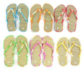 Wholesale Footwear Women's Bamboo Flip Flops - Floral Trim