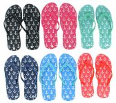 Wholesale Footwear Women's Flip Flops - Anchor Prints