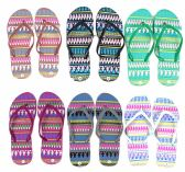 Wholesale Footwear Women's Flip Flops - Tribal Prints