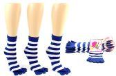 Wholesale Footwear Women's Toe Socks - Blue & White Striped Print - Size 9-11