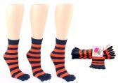 Wholesale Footwear Women's Toe Socks - Blue & Orange Striped Print - Size 9-11