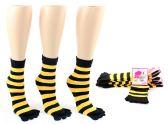 Wholesale Footwear Women's Toe Socks - Black & Gold Striped Print - Size 9-11