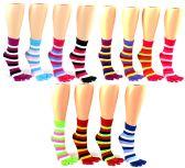Wholesale Footwear Women's Toe Socks - Striped Print - Size 9-11