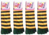 Wholesale Footwear Women's Toe Socks - Green & Gold Striped Print - Size 9-11