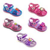 Wholesale Footwear Girls Cartoon Sandal In Blue And Pink