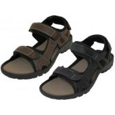Wholesale Footwear Men's Double Velcro Man Make Leather Sandals ( *asst. Black And Dark Brown ) Size 9-13