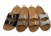 Wholesale Footwear Suede Birkenstock Style Slider In Tan