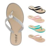 Wholesale Footwear Women's Flip Flop With Braided Straps And Crystal