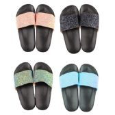 Wholesale Footwear Women's Glitter Strap Slide Sandal