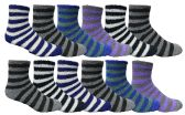 Wholesale Footwear Yacht & Smith Men's Warm Cozy Fuzzy Socks, Stripe Pattern Size 10-13